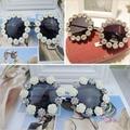 Laura Fairy Summer Style Beach Holiday Women Round Sunglasses Flower Vintage Sun Glasses Oculos De Sol Feminino