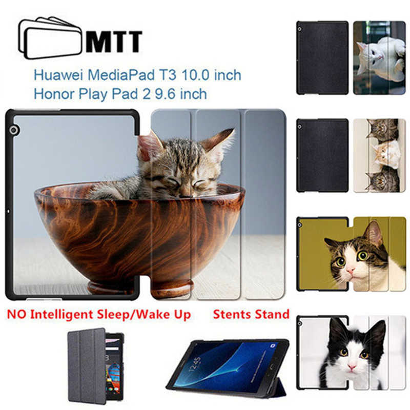 Cute Pet Cats MediaPad T3 9.6 PU Leather Case Cover Honor Play Pad 2 9.6'' Stand For Huawei T3 10 AGS-L09 AGS-L03 Tablet Funda