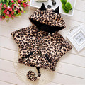 2016 autumn and winter new style baby girl thick clip cotton hooded Cloak fashion cat shaped leopard baby girl coat