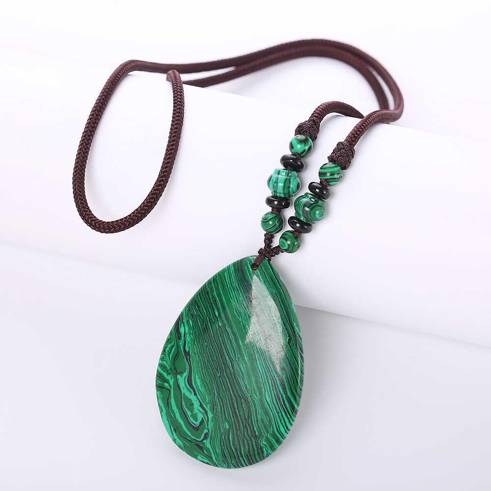 Исцеление Кристалл Натуральный малахитовое ожерелье зеленый кулон камень цепи Винтаж для женщин Jewelry Геометрическая веревка талисман рейки