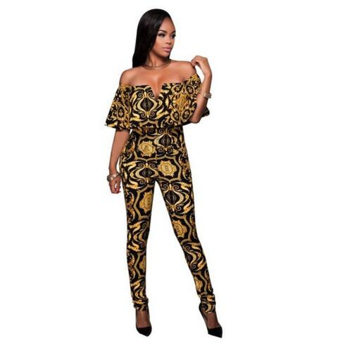 Rompers Womens Jumpsuit 2017 Summer Sexy V neck Flouncing Slim Off Shoulder Print Elegant Bodycon Bodysuit