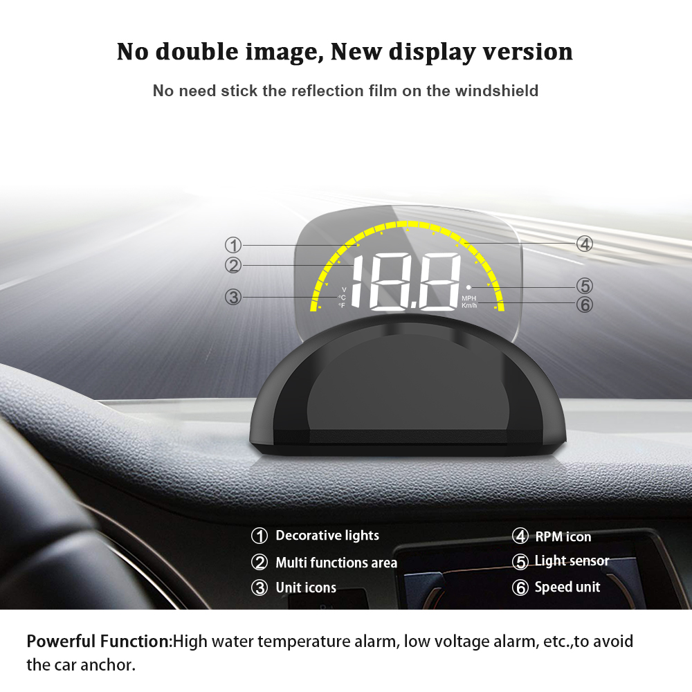 Image 2 - GEYIREN Car C700S HUD Head Up Display OBDII+GPS System Overspeed Warning Mirror Digital Projection Car Head Up Display-in Head-up Display from Automobiles & Motorcycles
