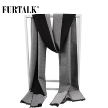 FURTALK 2017 winter silk scarf men new warm knitted plaid male scarves luxury brand bandana