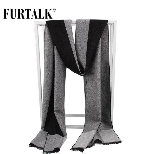 FURTALK 2017 winter silk scarf men new warm knitted plaid male scarves luxury brand bandana