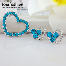 fashion sets pendant necklace austrya crystal full of rhinestone heart shape stud earring silver plated for