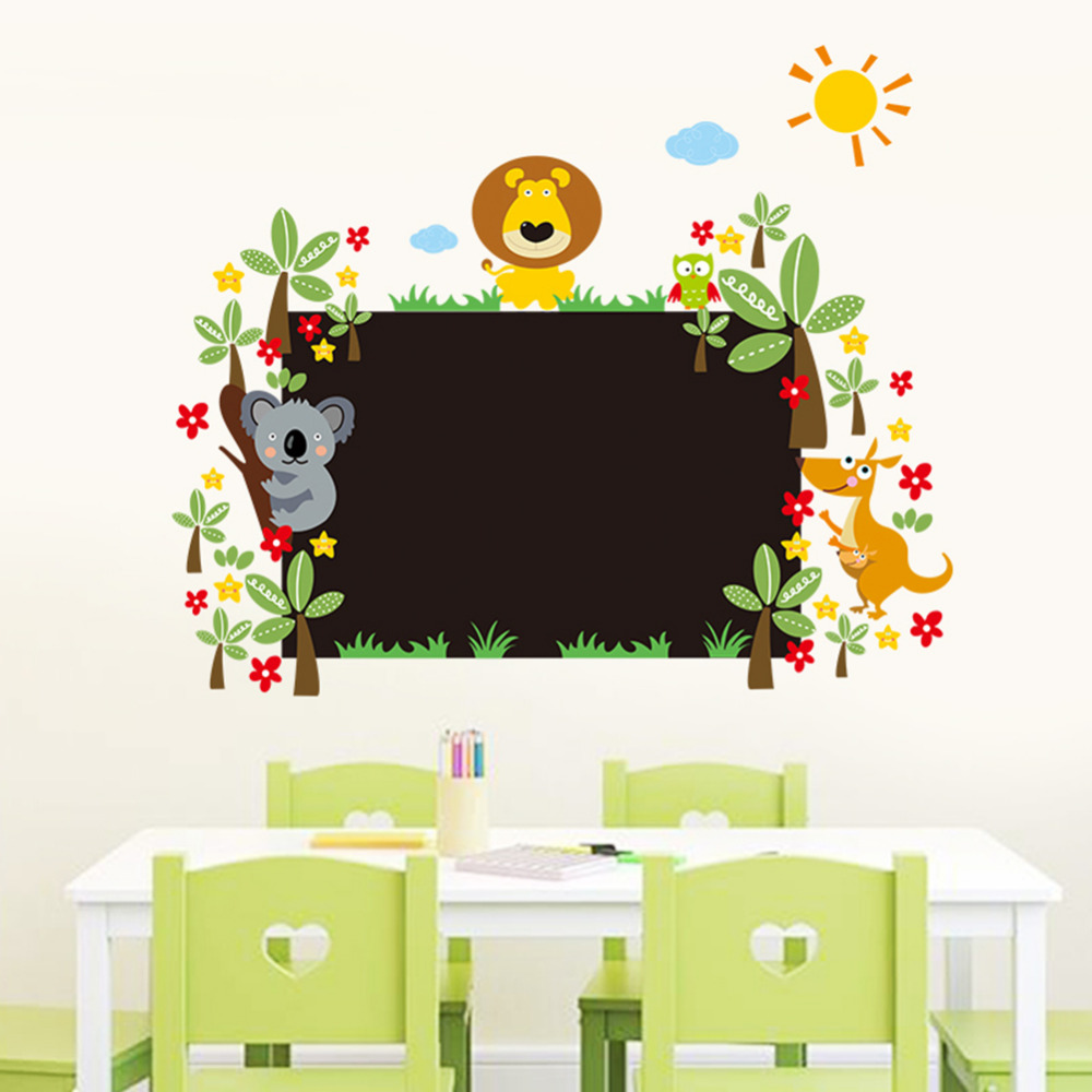 New Style Cute Lion Animal Wall Sticker PVC Floral Chalk Board Blackboard Wall Sticker Decal for kids baby room home decorations