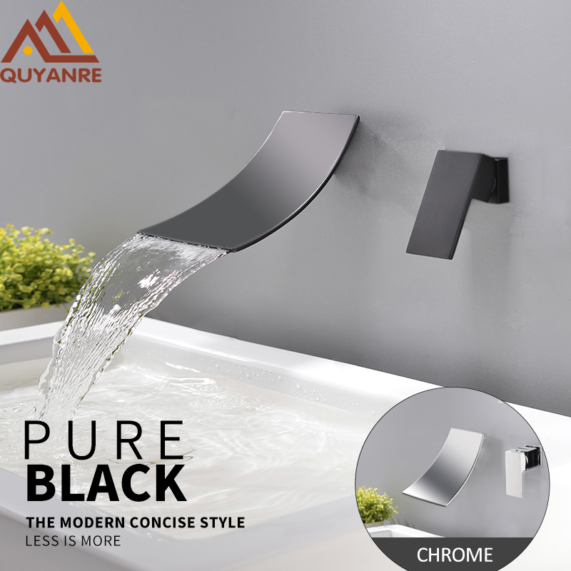 Quyanre Black ORB Chrome Waterfall Basin Faucets Wall Mount Waterfall Faucet Single Handle Dual Holes Mixer Tap Bathroom Faucet free shipping polished chrome finish new wall mounted waterfall bathroom bathtub handheld shower tap mixer faucet yt 5333
