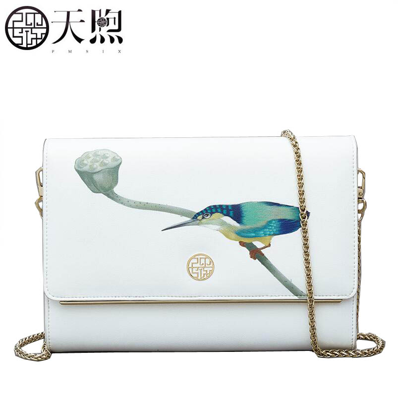 Pmsix2018 new luxury fashion high-grade leather embossed white printed Kingfisher shoulder bag leather envelope bag chain simple все цены