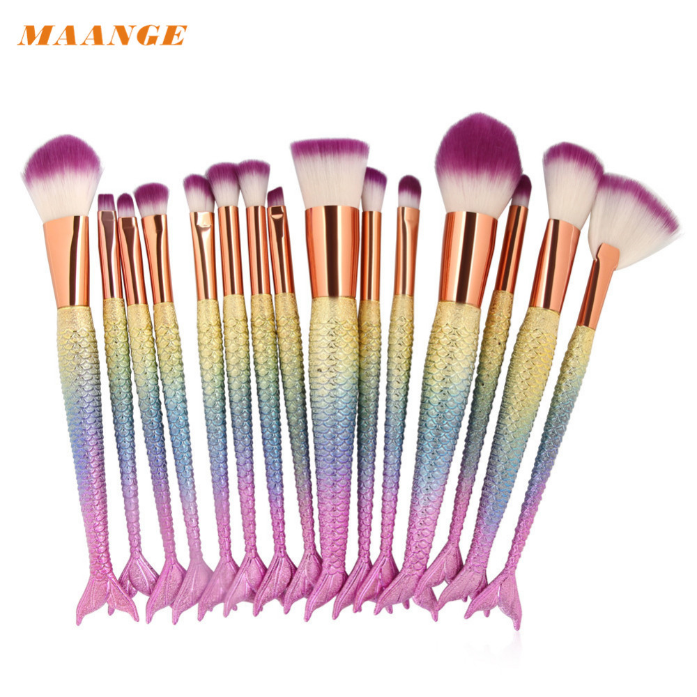 MAANGE  Brochas 15PCS Make Up Foundation Eyebrow Eyeliner Blush Cosmetic Concealer Brushes Makeup Brushes   2017 Aug9