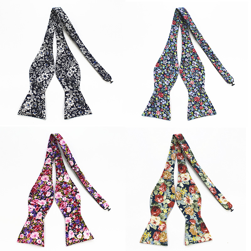 RBOCOTT Men's Self Tie Bow Ties 100% Cotton Printed Self Bowtie Vintage Floral And Paisley Bow Ties For Men