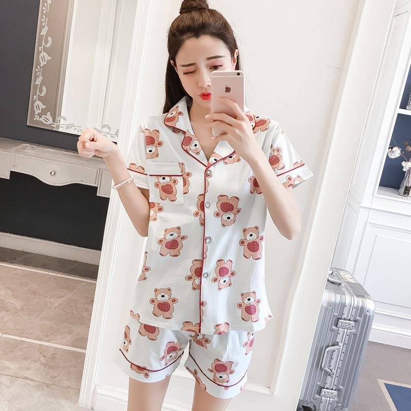 cartoon 100% cotton pyjamas women Shirts and Shorts Two Piece   pajamas     sets   100% Brushed cotton women sleepwear pijamas mujer
