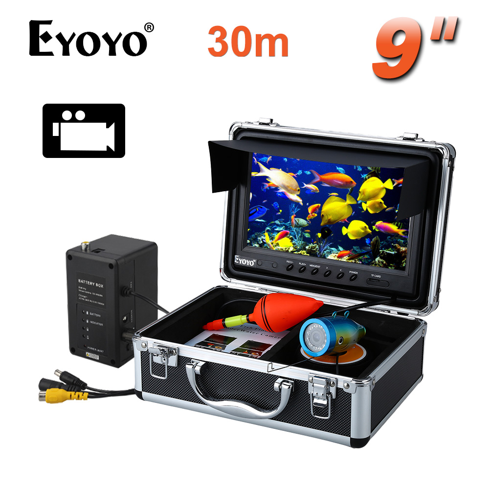 Eyoyo D'origine 30 M De Pêche Caméra Sous-Marine Fish Finder 9 LCD Moniteur HD 1000TVL Caméra Vidéo DVR Enregistrement Vidéo blanc LED 8 GB