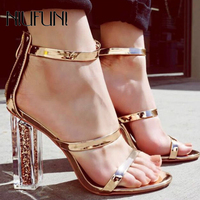 NIUFUNI Women Sandals High Heels Open Toe Crystal Transparent Sequined Women Shoes Elegant Thick Heeled Sandals Gold Shoes Woman