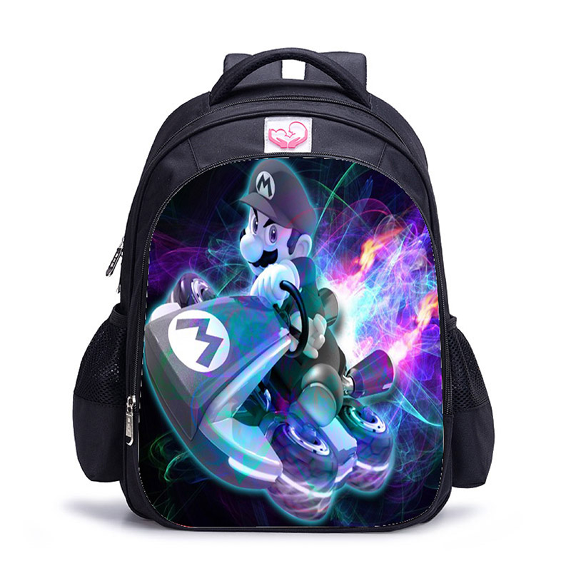 16 Inch Children School Bags Cartoon Mario Printing Backpacks For Boys Girls Mario Bros Bag Students Birthdays Gifts