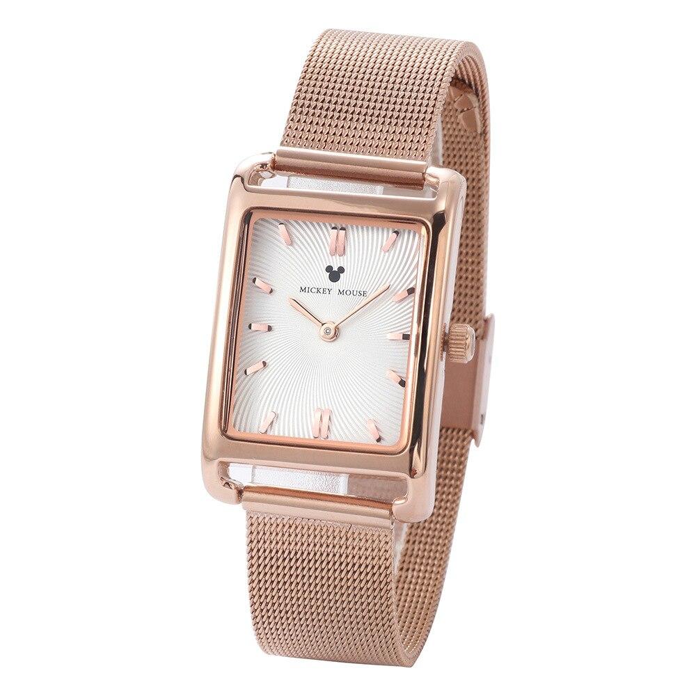 Montre femme mode Disney marque Mickey mouse montre-bracelet femme quartz acier inoxydable carré montres femme étanche