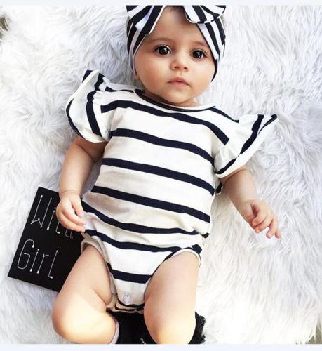 Toddler Infant Girls Striped Bodysuit Jumspuit Flutter Sleeve Cotton Round Collar Kid Girl Clothes Summer Baby Sunsuit