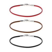 Classic Fashion Black Leather String Bracelet Red Line Jewelry Rope Womens Lobster Bracelets