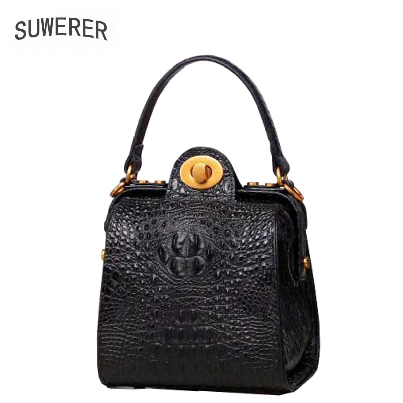 SUWERER 2018 New Women Genuine Leather bags fashion luxury Crocodile pattern women bags designer small women leather handbags цена 2017