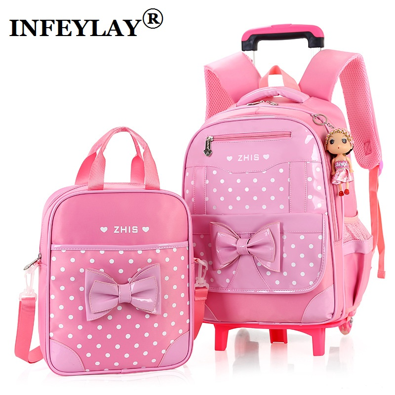 цена на 3PCS/set girl trolley case 3D child school bag kids 6-15 years students suitcase Free doll waterproof backpack travel luggage