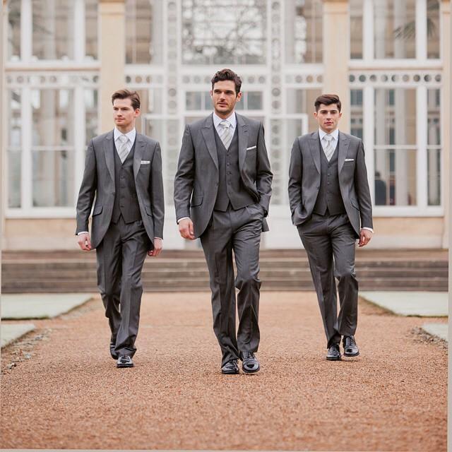 326d42bf9365 Slim Fit Custom Made Groom Tuxedos Lapel Best man Suit Gray Groomsman  Bridegroom Wedding Prom Suits (Jacket+Pants+vest+tie)
