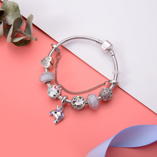 Hot Sale Unicorn Pendant European Beads Charm Bracelets For Women Girl With Snake Chain Brand & Bangles Jewelry