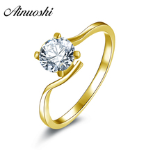 10K Gold Yellow Solitaire Rings  Sona nscd Simulated Diamond  Ring Jewelry Ring New Wedding Engagement Rings For Women Gift