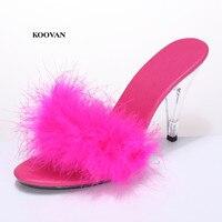 Koovan Women Pumps 2018 Summer 10 Cm High heeled Transparent Crystal Shoes Sandals Sexy Fur Large Size Fashion Show Shoes