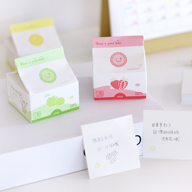 Creative Fruit Box Memo Pad Draw Out Sticky Notes 300 Sheets No Adhesive School Office Supplies Stationery Notice Memo