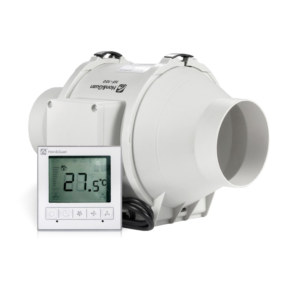 Hon&Guan 4' 4inch HF-100PMZC Timer Extractor Inline Duct Fan with Smart Switch ,Three-speed motor with NMB ball bearing brass copper famous three kingdoms guan ping zhou cang guan gong warrior god set