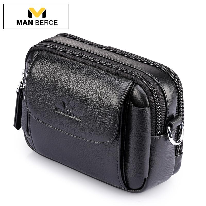 MANBERCE Brand Men s Waist Bag Cowhide Fanny Pack Genuine Leather Belt Bag Travel Casual Men