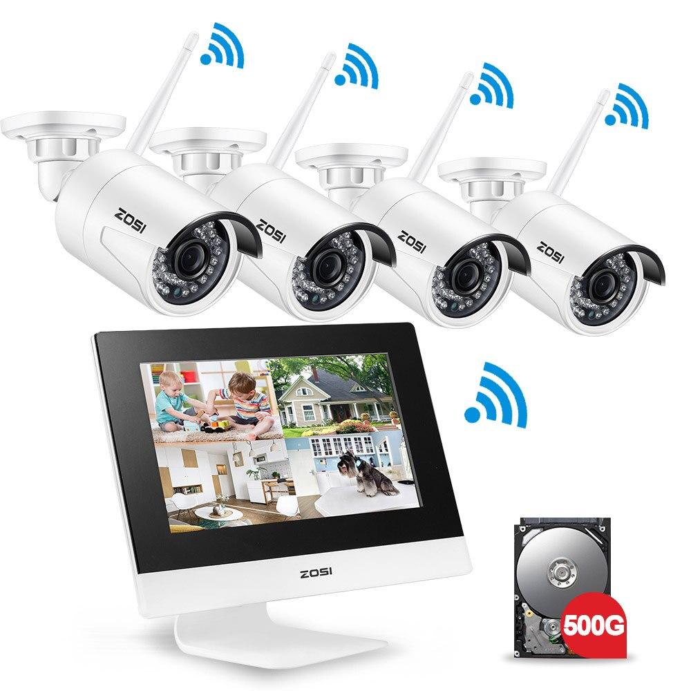 ZOSI 4CH CCTV Системы Беспроводной 960 P 10 ЖК-дисплей NVR безопасности Камера Системы 1.3MP ИК Открытый P2P Wi-Fi IP Камера наблюдения комплект 500 GB