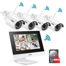 ZOSI 4CH CCTV Системы Беспроводной 960 P 10 «ЖК-дисплей NVR безопасности Камера Системы 1.3MP ИК Открытый P2P Wi-Fi IP Камера наблюдения комплект 500 GB
