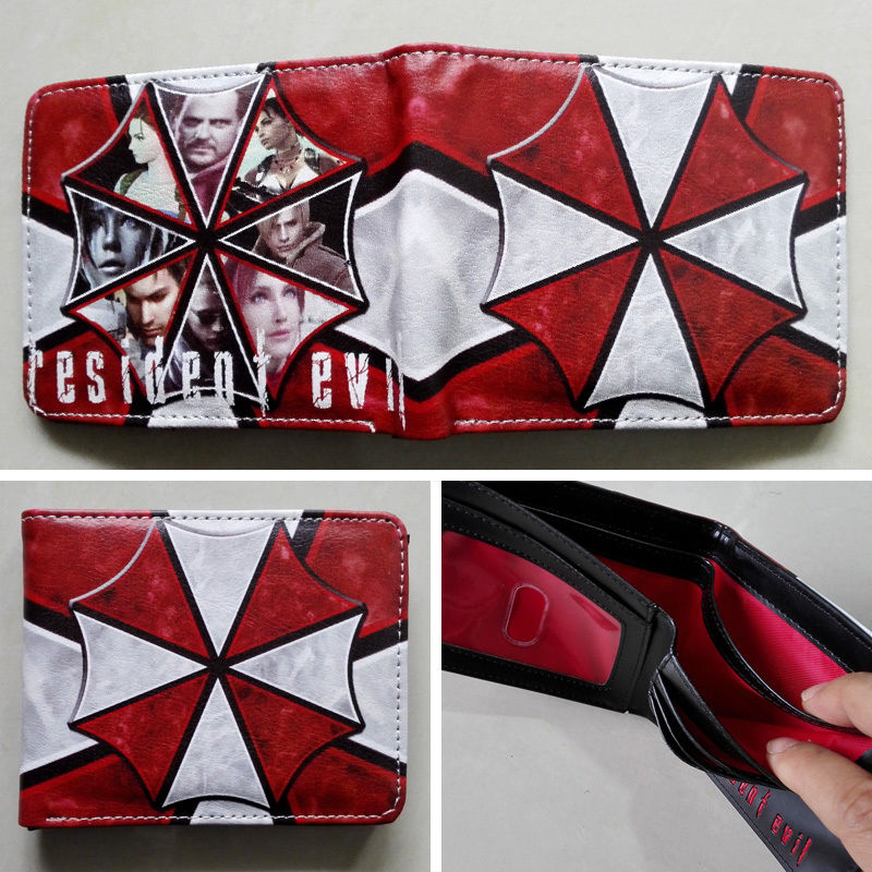2018 Movie Resident Evil Logo 02 wallets Purse Multi-Color 12cm Leather New Hot W175 2018 games pacman games logo wallets purse multi color leather new hot w199