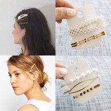 3Pcs/Set Pearl Metal Hair Clips Hairband Elegant Barrette Stick Geometric Snap Hairgrip Hairpin Accessories Hairclips