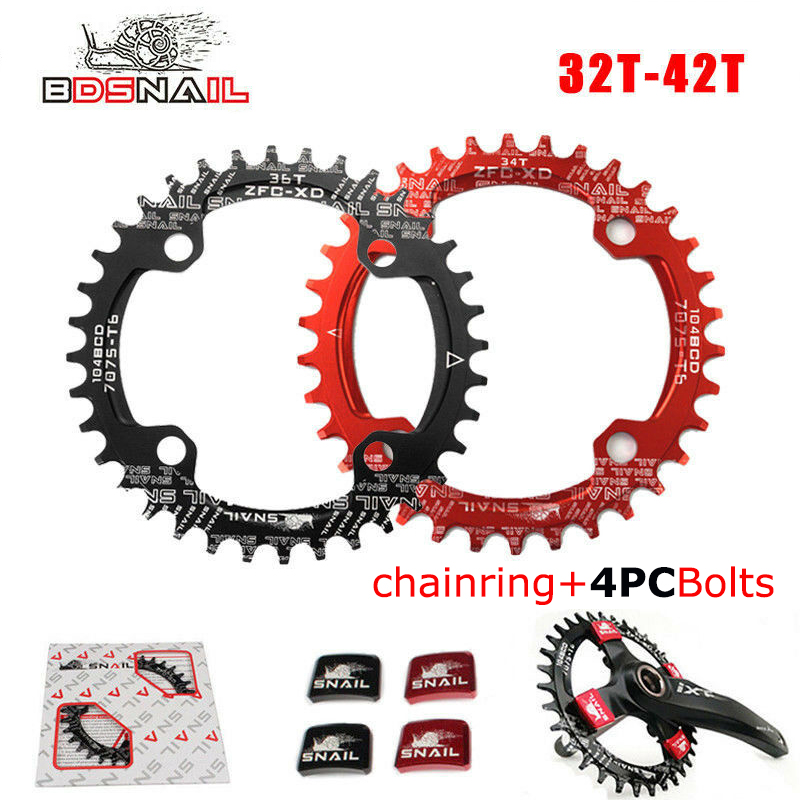 30t 104bcd Narrow Wide Chainring Single Round MTB Bike Crankset Chainring Bolts