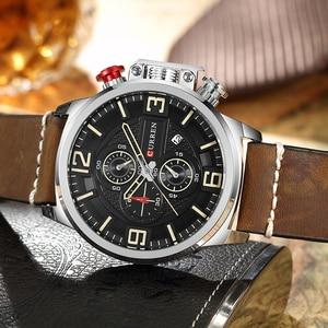 Image 3 - Neue herren Uhr CURREN Marke Luxus Mode Chronograph Quarz Sport Armbanduhr Hohe Qualität Lederband Datum Männlich Uhr