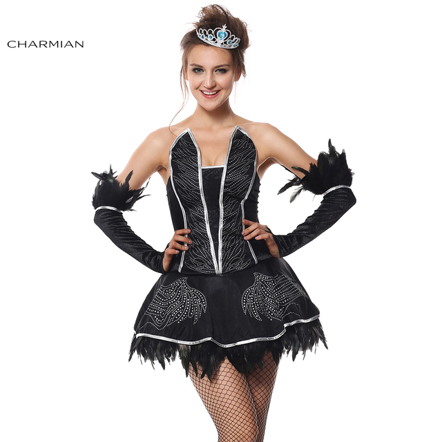 charmian halloween costume for women deluxe seductive black swan adult fantasias carnival mini dress cosplay costume
