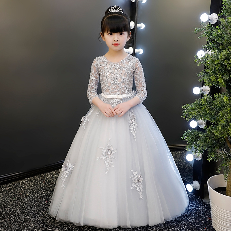 Elegant Sequined Kids Toddler Flower Girls Lace Dress Pageant Wedding Bridal Children Birthday Evening Princess Tulle Dress elegant flower lace lacut cut wedding invitations set blank ppaer printing invitation cards kit casamento convite pocket