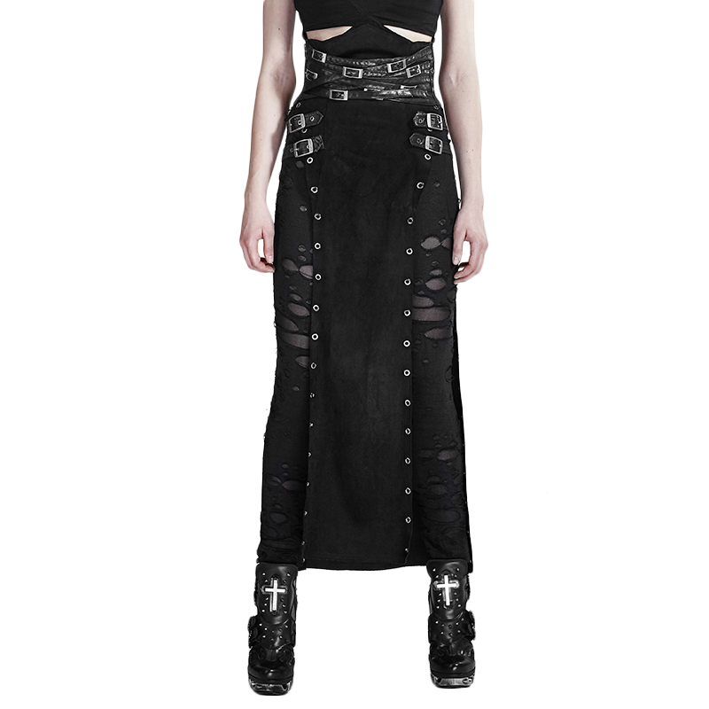 Punk Personality Woolen Black PU Leather Spanking Split Skirt Warrior Split High Waist Neutral Long Skirt