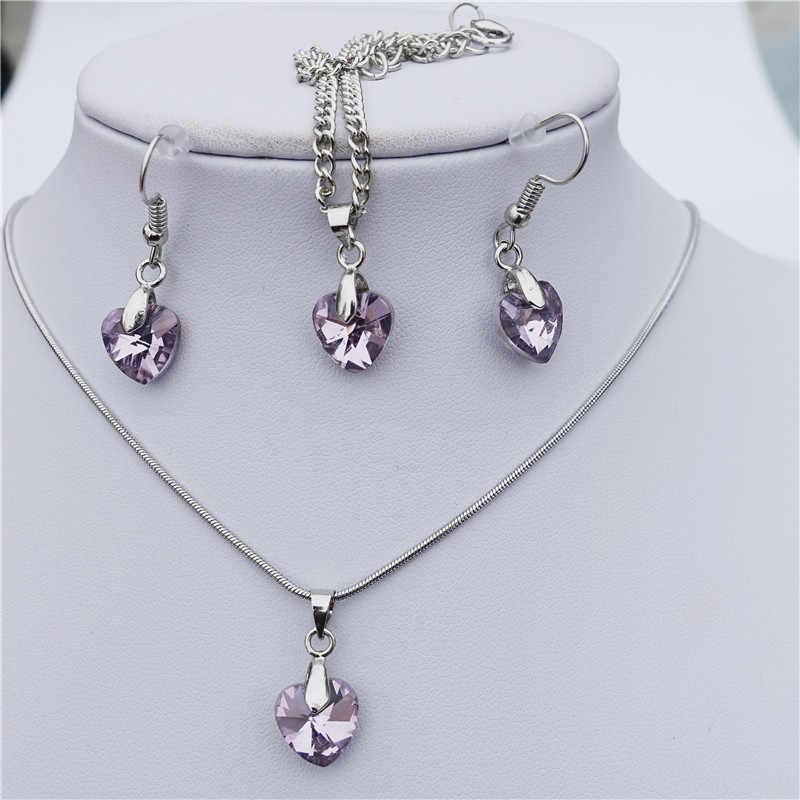 10mm Crystal Pink Heart Necklace Earrings Bracelet Anklet Jewelry Set For Women Girls Wedding Gift