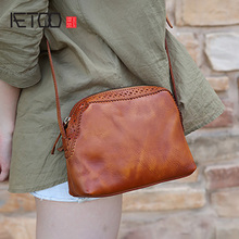 AETOO Handmade womens bag, leather vintage mini shell art one-shoulder slant edith bag