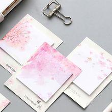 1 Pc 30 Sheets Self-Adhesive Fresh Cherry Sakura Natural Memo Pad Sticky Notes Shopping Check List School Supply Label