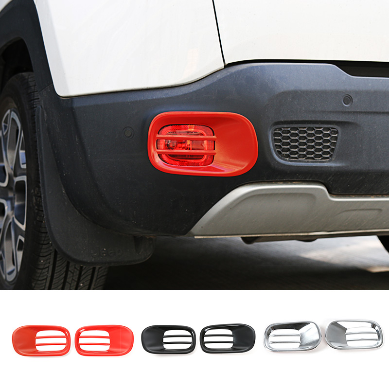 SHINEKA Car Styling ABS Rear Fog Light Lamp Decoration Cover Trim Frame Exterior Decoration Accessories for Jeep Renegade 2015+