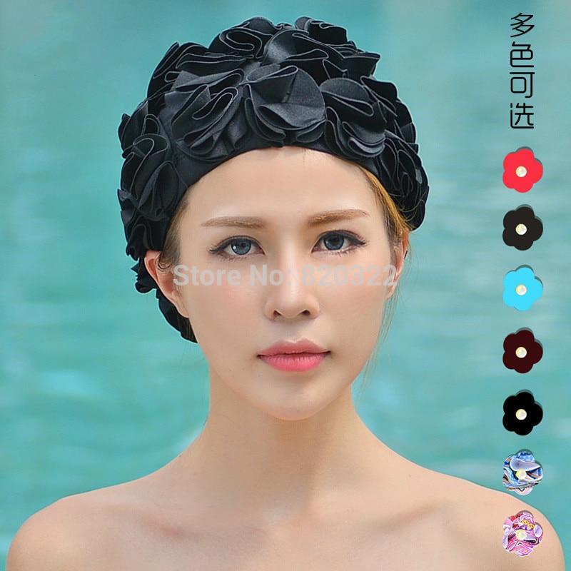 Diseño 36 Flores de Lis Mujeres Gorro de baño Coloful Deportes Swim Piscina Her