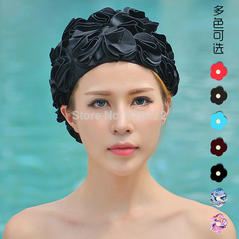 2017 Design 36 Lily Flowers Women Swimming Cap Coloful Sports Swim Pool Beautiful Hat Free Size Women Elastictry Cap
