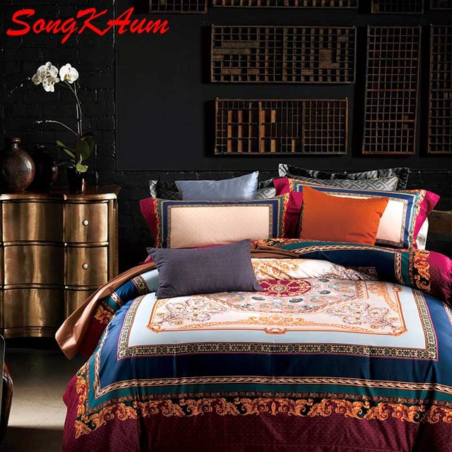 Luxury Brand 100% Pima Cotton Bedding Sets High Quality Duvet Cover Queen  King Bed Sheet