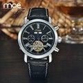 Mce marca militar homens relógio de couro relógio mecânico automático auto-vento relogios masculino relógio turbilhão de luxo relógio