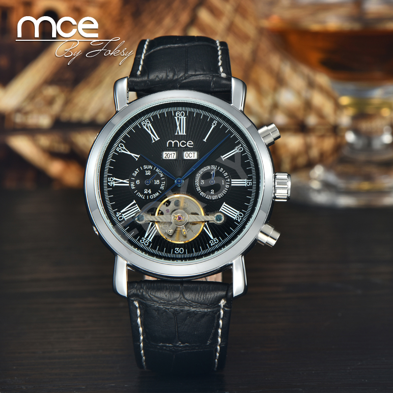 mce branded Military leather Brand Automatic Self wind Relogios Masculino Watch Mechanical Fashion Luxury Watch Tourbillon