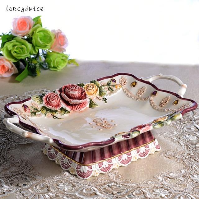 European ceramic rose dishes rectangle fruit Candy Storage dish Salad plate home decor wedding decoration handicraft  sc 1 st  AliExpress.com & European ceramic rose dishes rectangle fruit Candy Storage dish ...