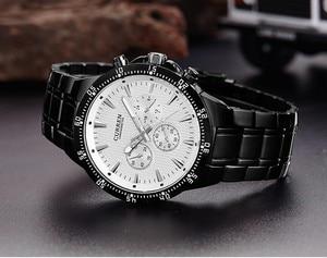 Image 3 - CURREN Fashion Full Steel Quartz Men Watch Analog Sports Male Wristwatch Classic Black&White Horloges Mannens Saat Reloj Hombre